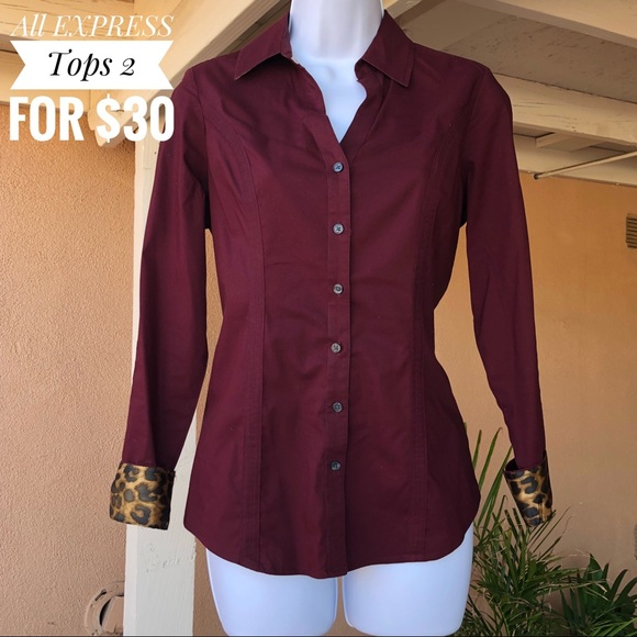 50ef0ef073 Express Tops - Express The Essential Shirt Long Sleeve Button Up